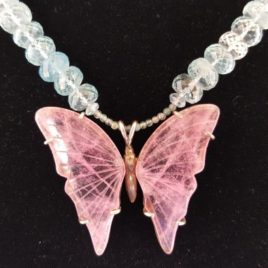 Pink Butterfly Aquamarine Bead Necklace